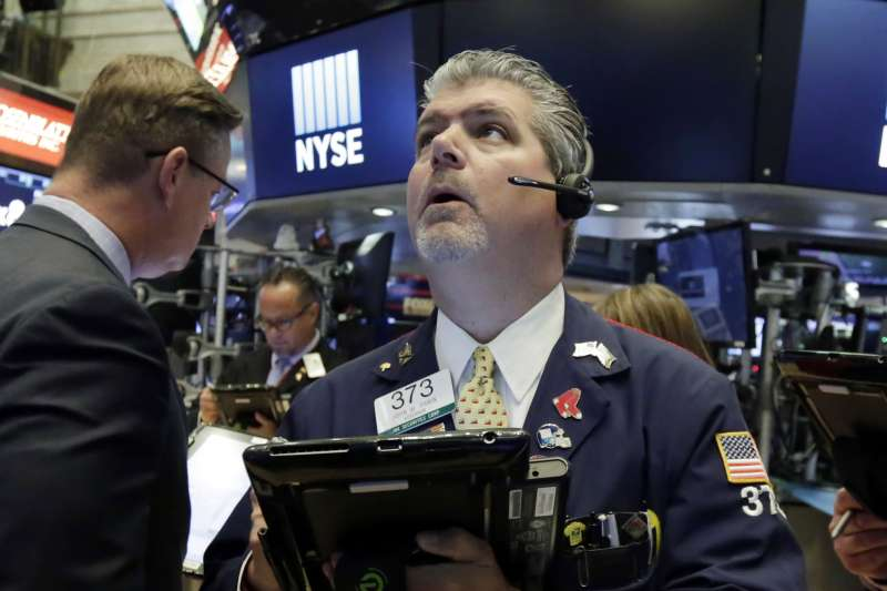 20180619_美中貿易戰快速升溫,美股道瓊開盤重創超過300點。圖為紐約證券交易所。(美聯社)
