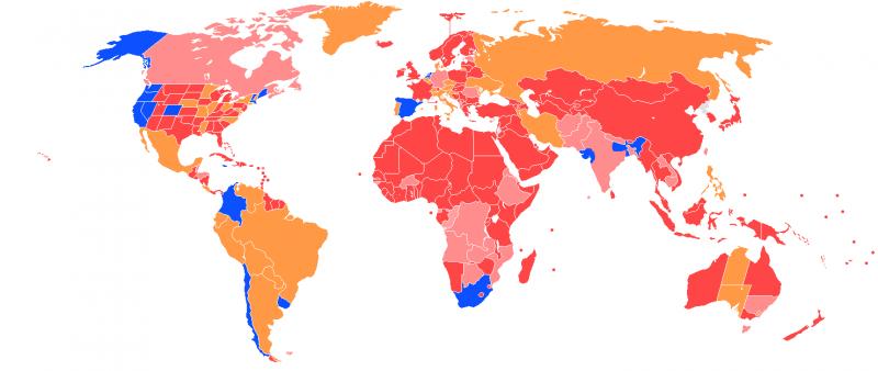 全球大麻合法化情形。(維基百科公有領域)