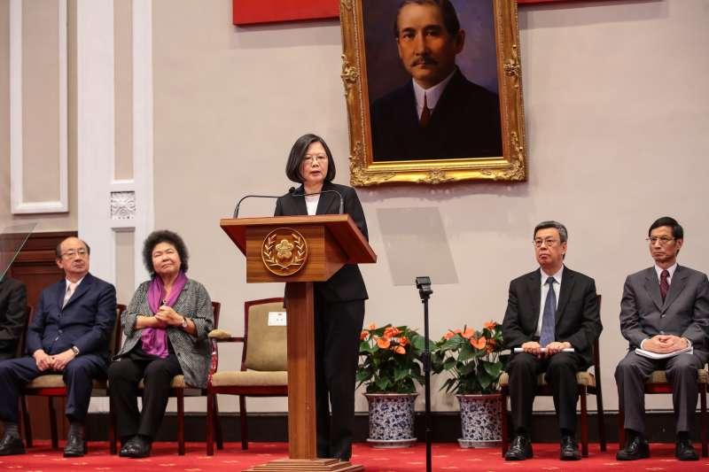 20180621-總統蔡英文21日針對年金改革方案通過出席總統府說明記者會。(顏麟宇攝)