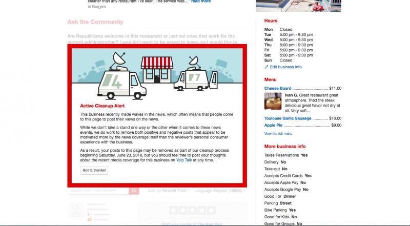 美食評鑑網站Yelp目前已關閉對「老紅母雞」(Red Hen)餐廳的評論功能。(截圖自Yelp網站)