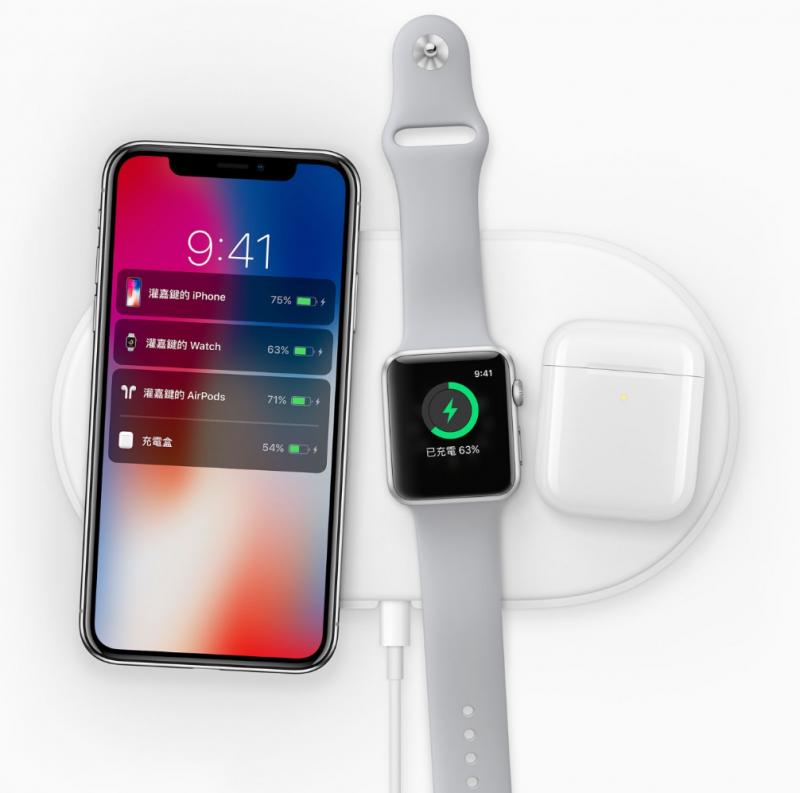 AirPower的設計是可以同時滿足iPhone、Apple Watch、AirPods 這三樣裝置。(圖/取自Apple,數位時代提供)