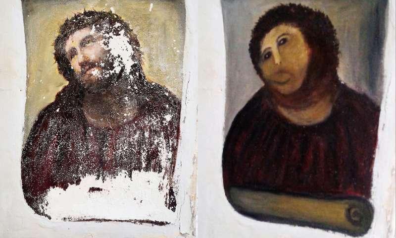 西班牙畫家馬汀涅茲《戴荊冠的耶穌》(左)原本描繪莊嚴耶穌像,遭到吉梅尼斯老奶奶修復後竟酷似人猿(美聯社)