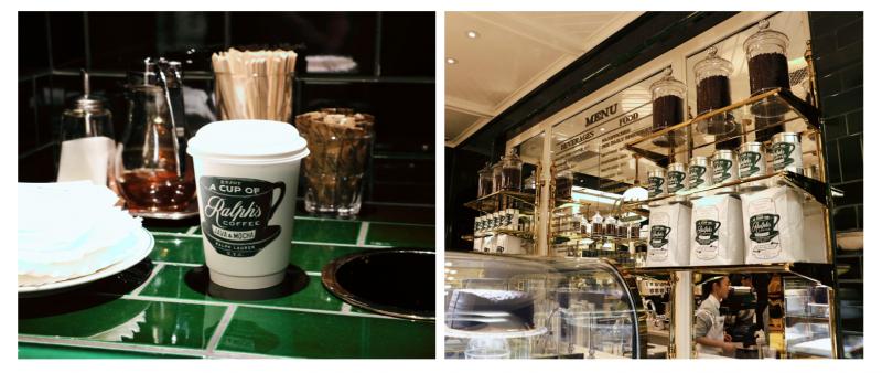 Ralph's Coffee是時裝品牌Ralph Lauren在亞洲的第一家咖啡店,店家以綠色磁磚搭配白色的雲石面櫃檯,還有霓虹裝飾燈呈現的咖啡杯,經典又有生活格調。