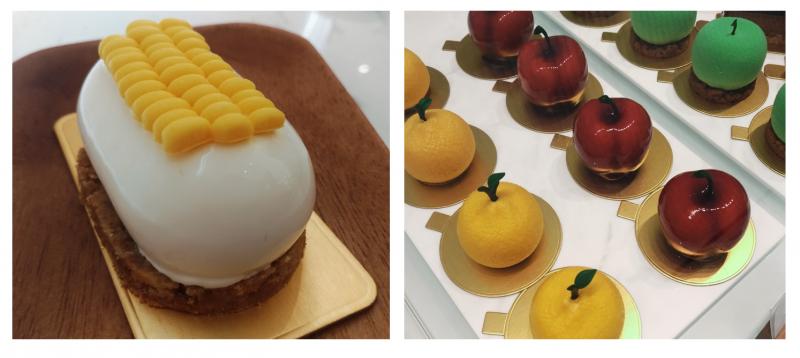 除了蝴蝶酥,主廚也創作出蛋糕中鮮少出現的玉米口味,其餘幾款水果造型的蛋糕也別富創意,內餡皆以水果製作,真材實料。