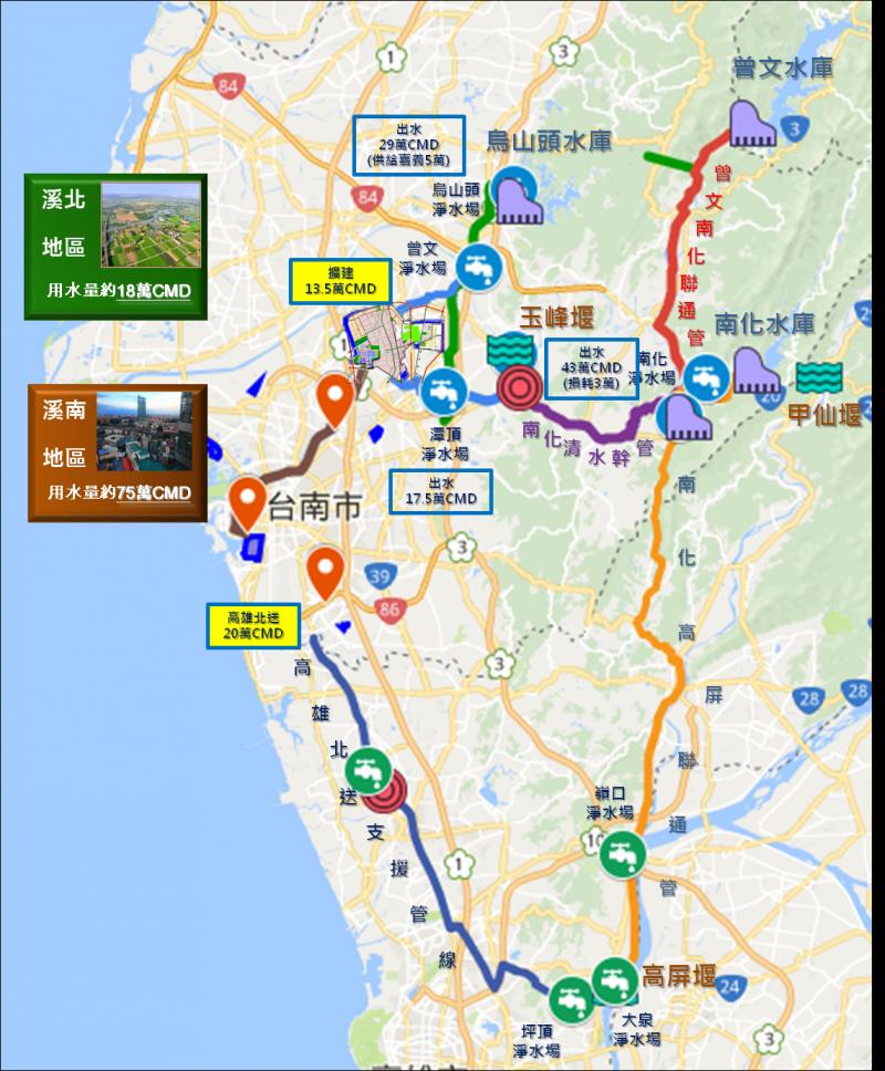 20180627-台南市政府26日發布新聞稿澄清,表示在中央及地方政府攜手「開源」、「節流」、「調度」、「備援」4大行動方案的積極推行之下,台南市用水、供水無虞。(台南市政府提供)