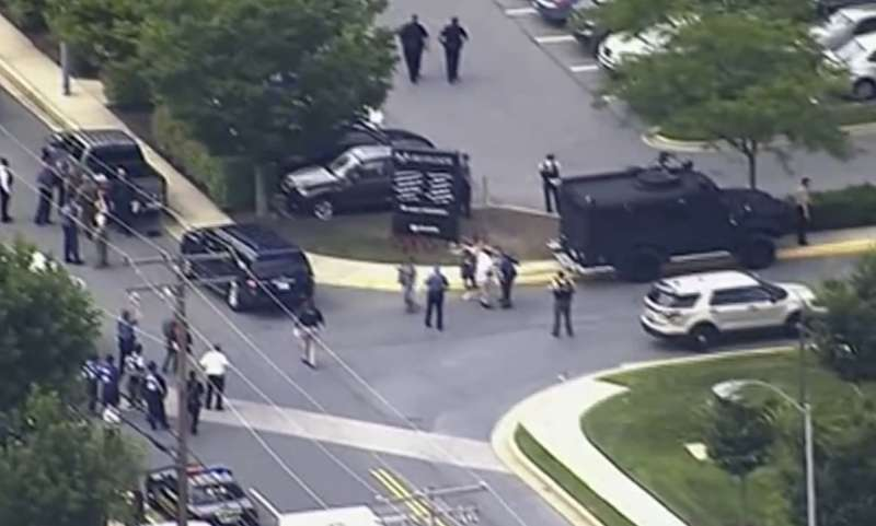 2018年6月28日,美國馬里蘭州首府安納波利斯《首府新聞報》(Capital Gazette)發生大規模槍擊案(AP)