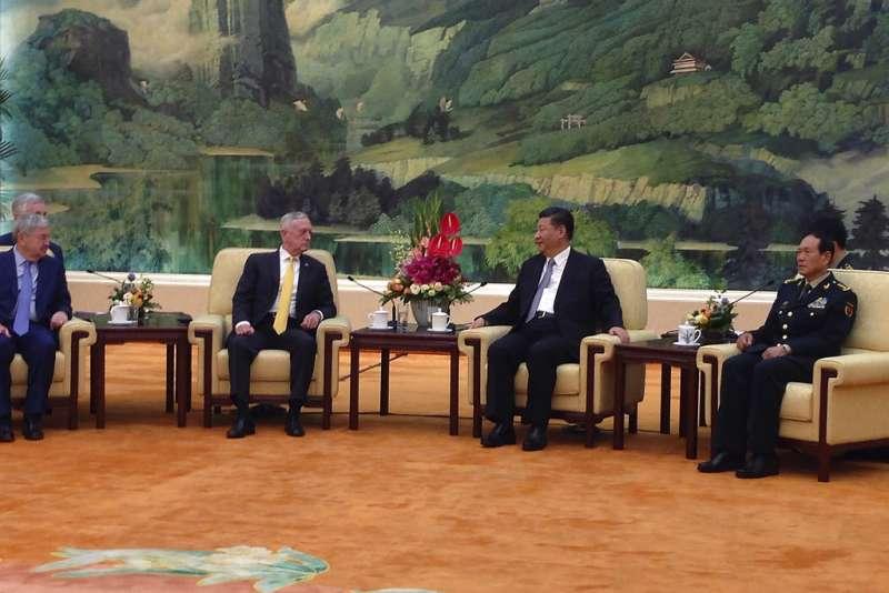 美國國防部長馬提斯訪問中國,並與習近平會面。(AP)