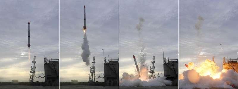 2018年6月30日清晨,日本民間企業Interstellar Technologies獨力開發的小型火箭「MOMO 2號機」於北海道大樹町發射;火箭升空後僅4秒便失去動力而墜毀。(AP)