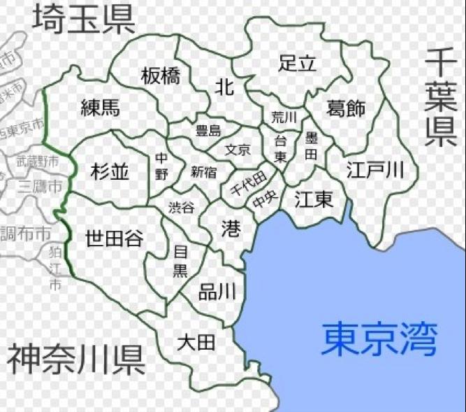 現代東京都23區地圖。(作者賈忠偉提供)