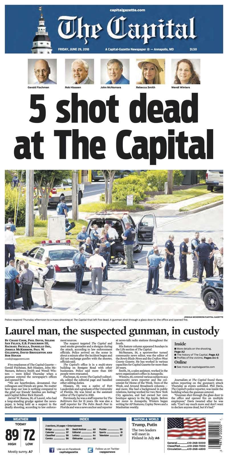 2018年6月28日,美國馬里蘭州《首府新聞報》(The Capital Gazette)編輯部遭槍手血洗,5位新聞工作者遇難,但隔天繼續出報(AP)