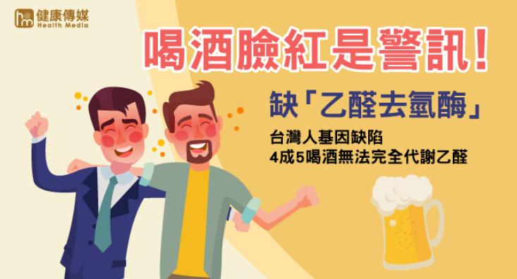 一喝酒馬上臉紅,代表代謝乙醛的能力很差。(圖/健康傳媒製作)