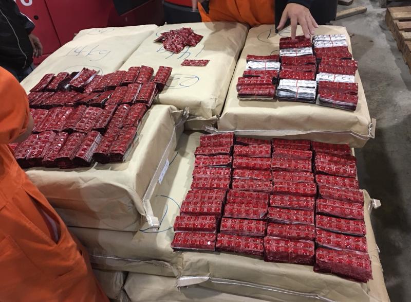 20170706-調查局宣佈,查獲今(2018)年國內最大宗一粒眠毒品走私案件,總重651公斤,計240萬餘顆。