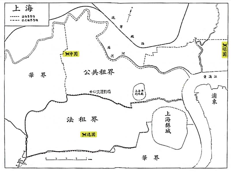 1928 年,上海的三座跑狗場:明園、申園與逸園。(圖/資料來源—張寧, 2003 年 12 月,〈是運動還是賭博?:跑狗論述與現代上海的成型, 1927-1933 〉,研之有物提供)
