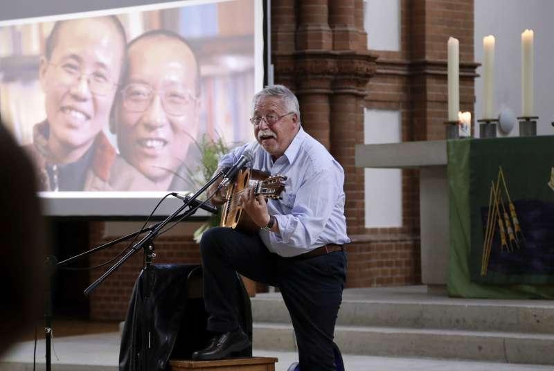 2018年7月13日,中國諾貝爾和平獎得主劉曉波逝世一周年,德國柏林紀念儀式(AP)