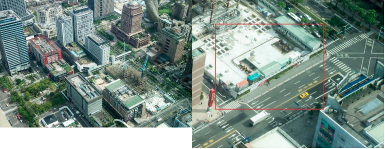 去年九月時,從101觀景台的空拍圖往下觀察,就已經能清楚看見蘋果旗艦店的地基。(圖/數位時代提供)