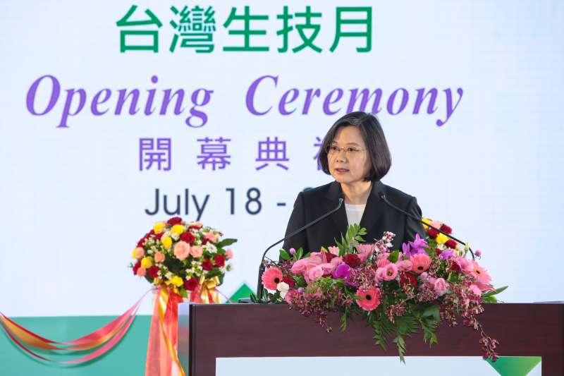 20180719-總統蔡英文19日出席「2018台灣生技月暨生技大展」開幕式。(顏麟宇攝)