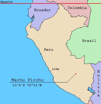 馬丘比丘的位置與經緯度(Jonathan Hornung@Wikipedia/CC-BY-SA-3.0)