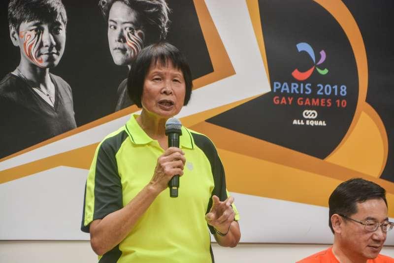 20180723-「巴黎世同志運動會台灣代表隊誓師記者會」,希望基金董事長紀政出席。(曾定嘉攝)