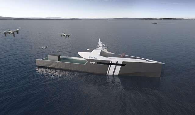 去年九月,就公布一款搭配人工智慧(AI)技術的無人船艦原型概念。(圖/Rolls-Royce,數位時代提供)