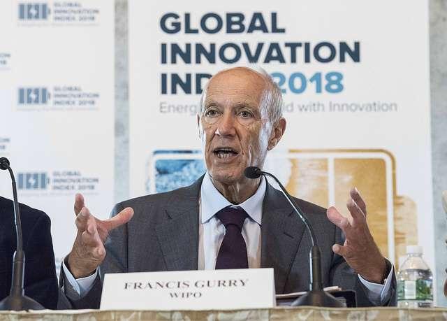 世界知識產權組織秘書長Francis Gurry發表2018年的報告(圖/Wikimedia Commons)