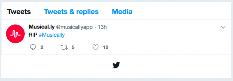 musical.ly官方Twitter,隨著App和TikTok合併之際,僅發了一篇內容只有「RIP」的貼文。(圖/取自Twitter,數位時代提供)