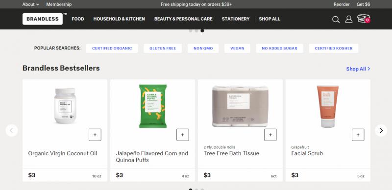 Brandless是一家所有東西都只賣3美元的美國新創電商。 (圖/取自Brandless,數位時代提供)