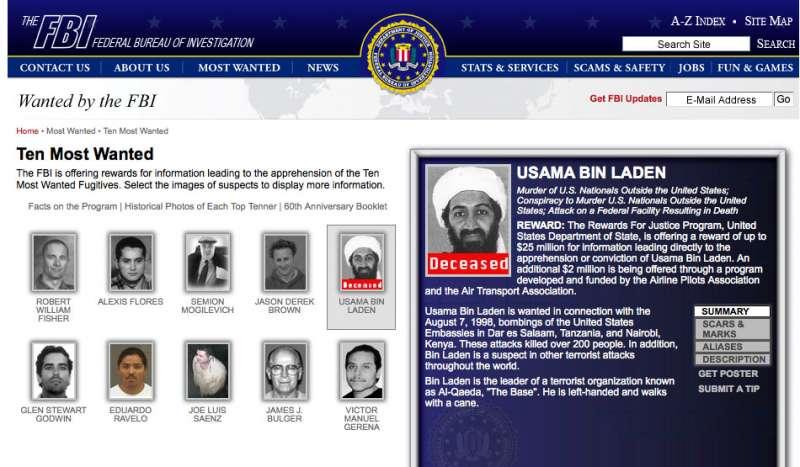 美國聯邦調查局(FBI)2011年的ˊ通緝要犯頁面,指出賓拉登已經死亡。(Wikipedia / Public Domain)