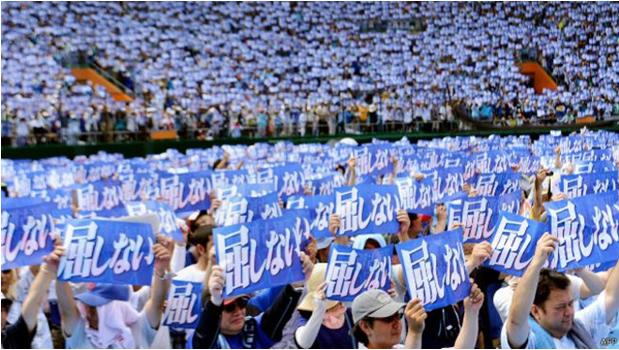 琉球(沖繩)人抗議美軍基地(圖片節選自《BBC中文網》)。(作者賈忠偉提供)