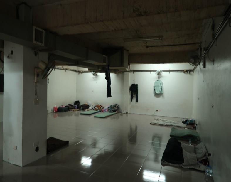 20180808-外籍漁工岸置所,平和西路岸置所地下室全景。(取自監察院資料)