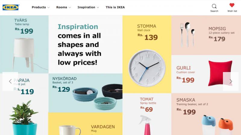 在印度IKEA官網首頁主打的商品單價都不超過200盧比(約新台幣90元)。(來源:IKEA官網)