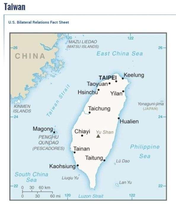 20180810-美國國務院官網在中國簡介頁面的地圖上,中國與台灣均以淺米色標記,但台灣簡介的部分,採另闢專頁的方式處理,並未列在中國的網頁內容。(取自美國國務院網站)