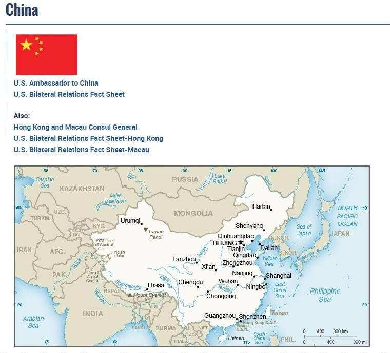 20180810-美國國務院官網在中國簡介頁面的地圖上,中國與台灣均以淺米色標記。(取自美國國務院網站)