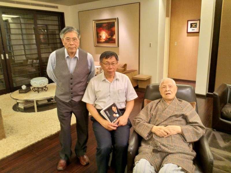 在政治評論家詹錫奎牽線下,台北市長柯文哲於9日拜訪前總統李登輝。(取自詹錫奎臉書).jpg