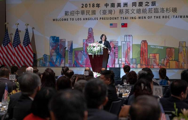 20180813-總統蔡英文旅美在台灣僑宴上發表演說。(取自flicker@總統府)