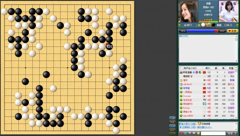 世界冠軍柯潔九段也在野狐關注女子圍棋最強戰。(海峰棋院)