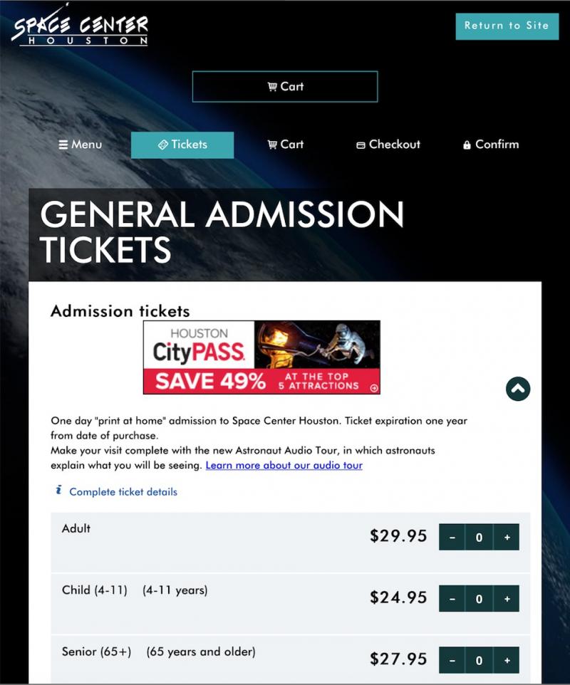 休士頓太空中心參觀票價。