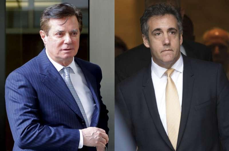 川普昔日幕僚馬納福特及前私人律師柯恩雙雙落馬。(AP)