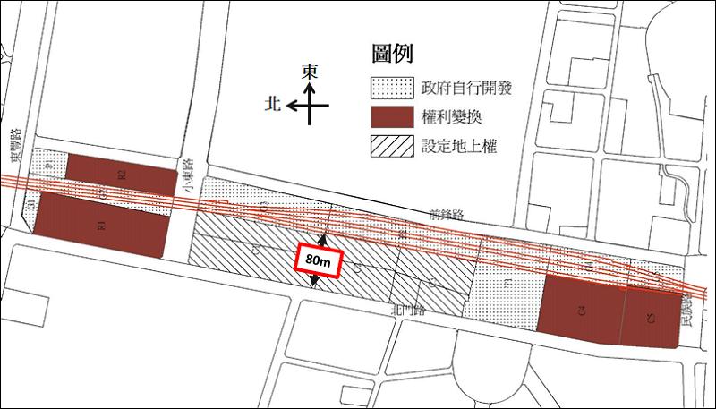 圖八,南鐵東移案中火車站區的土地開發方式。
