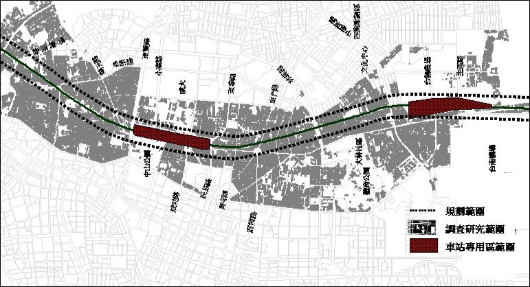 台南鐵路地下化「第二階段」,共197公頃。原訂以區段徵收取得土地。