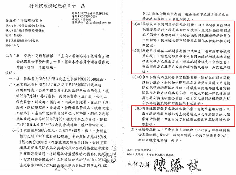 圖六,民國98年經建會函再次明示「以土地開發利益回饋軌道運輸建設」。