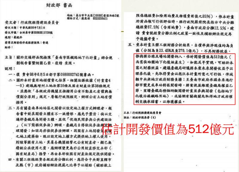 圖五,民國98年財政部函明示南鐵東移案土地開發價值為512億。