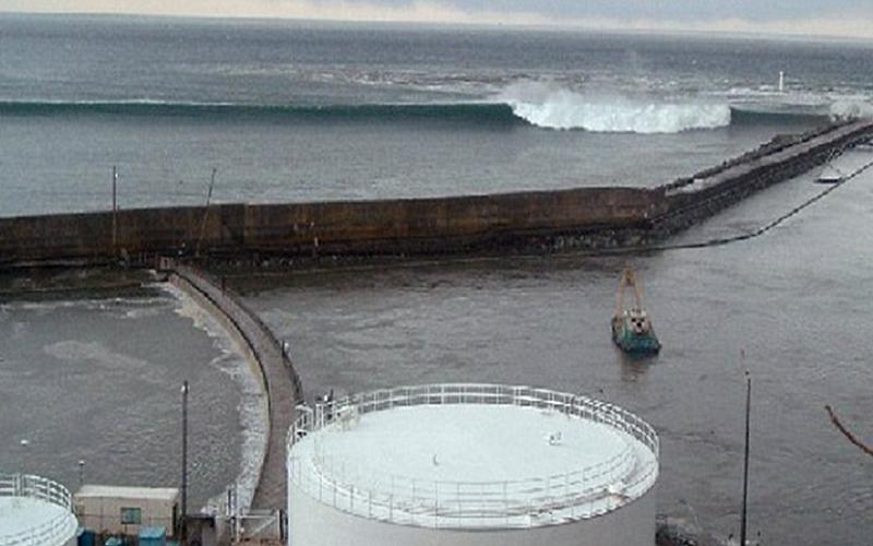 福島第一核電廠的海嘯牆是建在碼頭堤防上,遠方為海嘯來襲。(賀陳弘提供)