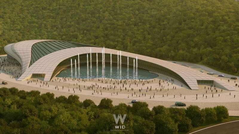 擁湖演藝中心以橋的意向抬高建築入口形塑出聎望感(圖/WID建築室內設計事務所提供)