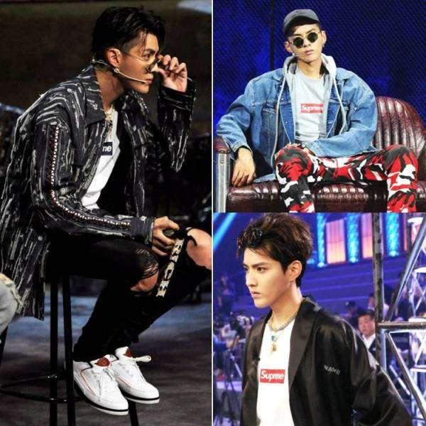 吳亦凡在去年⟪中國有嘻哈⟫節目中時常穿著Supreme品牌的衣服。(圖/愛范兒提供)