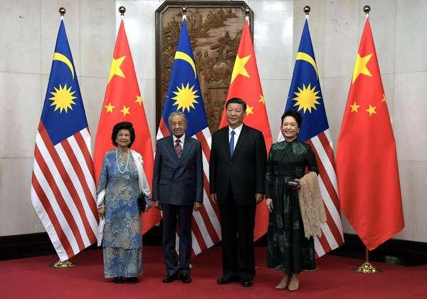 馬來西亞首相馬哈迪(Mahathir Mohamad)首度正式訪問中國,與中國國家主席習近平會面。(取自中國報)