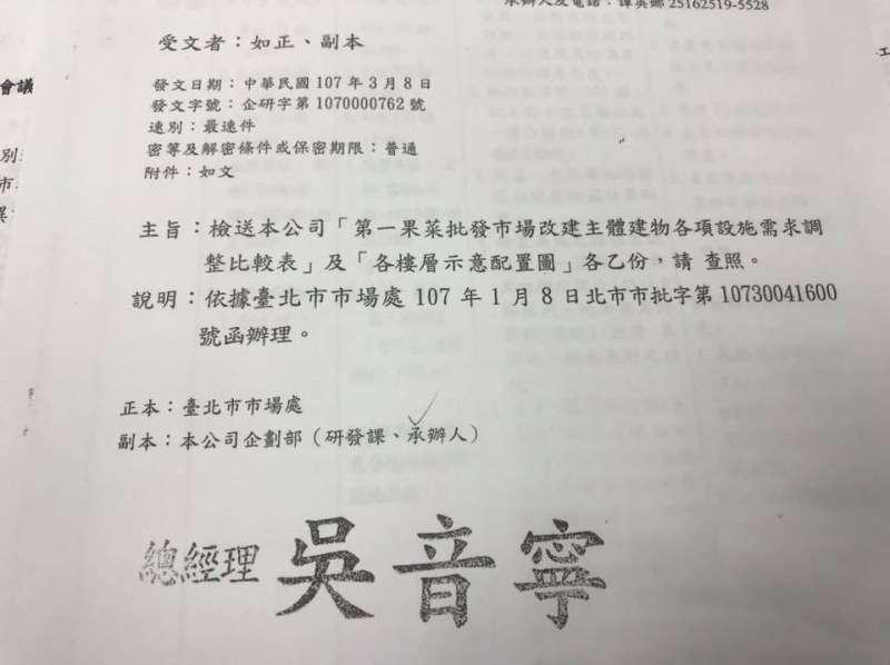 20180905_01.北農針對第一蔬果批發市場改建另有建議案的公文。(翻攝賴坤成臉書)