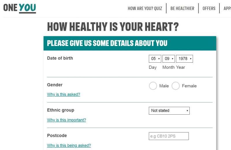 英格蘭公共衛生署推出的「檢查你的心臟年齡」網路調查。(英格蘭公共衛生署)