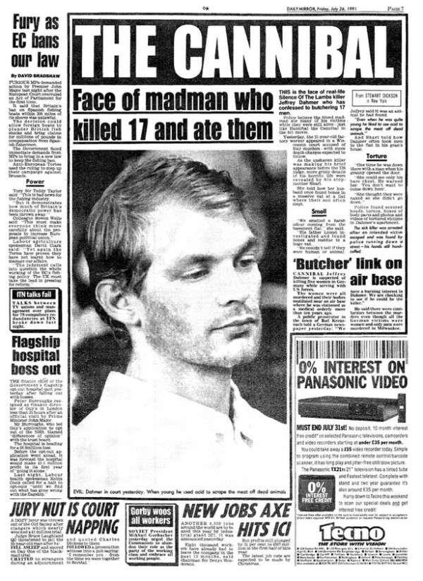 「每日鏡報」報道連環殺手 Jeffrey Dahmer 受審的情況。(圖/每日鏡報|CUP提供)