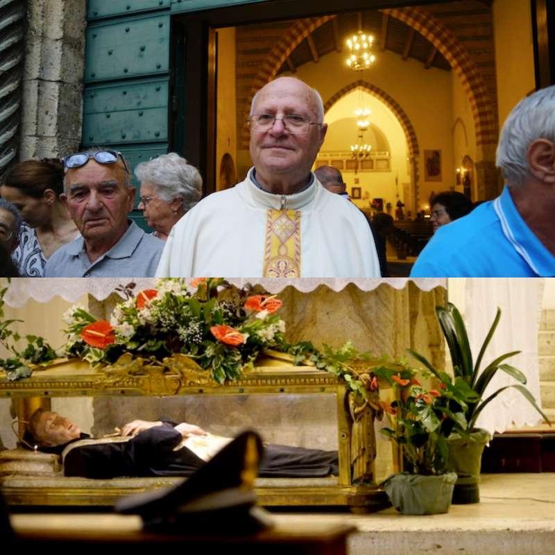 院長帕契尼神父和聖貝尼吉遺體。