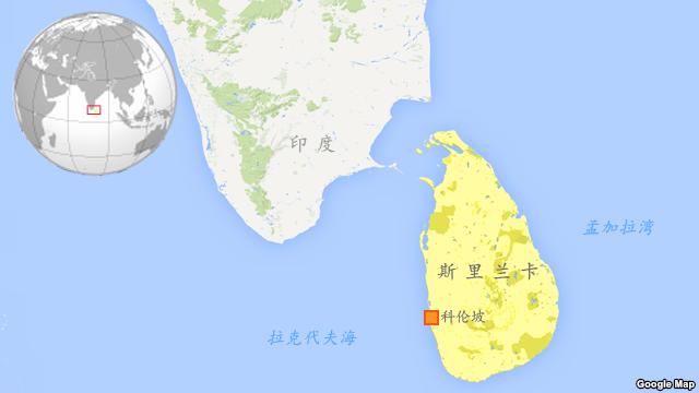 斯里蘭卡地圖。(美國之音)